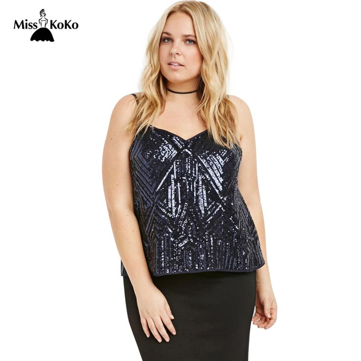 Misskoko Plus Size New Fashion Women Clothing Casual Backless Blingbling Sequin Tops Sexy Big Size Camisole 3XL 4XL 5XL 6XL #Affiliate