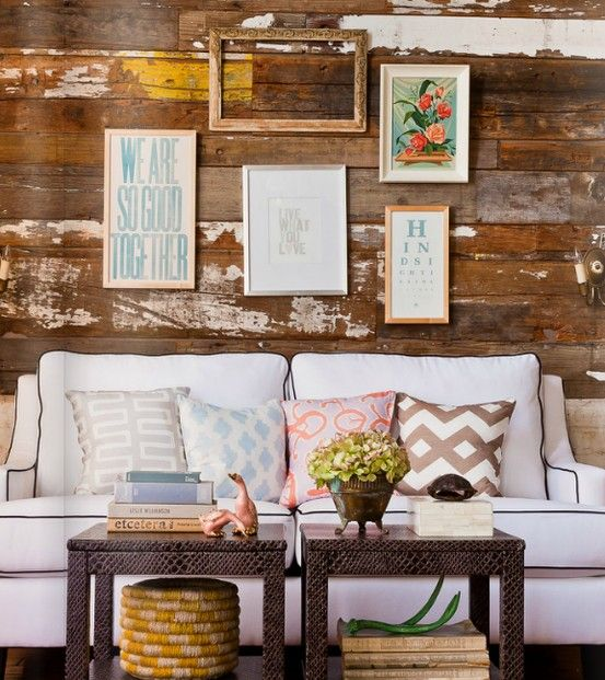 : Distressed Wood, Small Tables, Coffee Tables, Living Rooms, Rustic Wall, Burlap Pillows, Wooden Wall, White Couch, Wood Wall