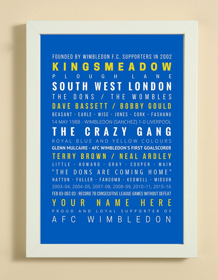 AFC+Wimbledon+Football+Club+Word+Art+Design+Print+-+Words,+Names+And+Facts+Associated+With+AFC+Wimbledon+FC+-+In+White+Or+Black+A4+Box+Frame, £18.99