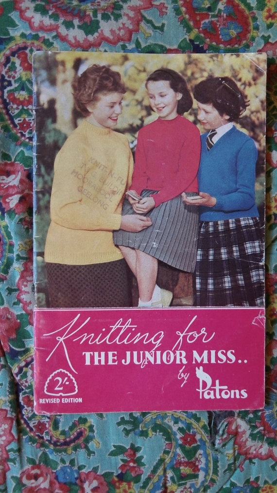 Sweet vintage fifties Patons childrens knitwear by Gladyswasagirl, $7.00