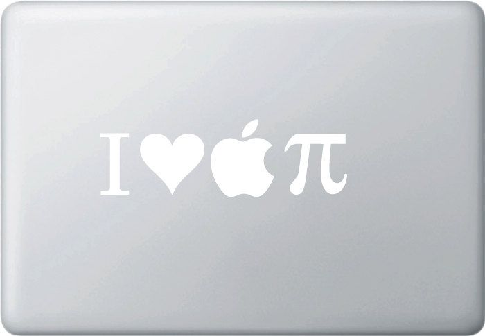 I Love Apple PI Vinyl Decal for Macbooks and More.... $3.99, via Etsy.