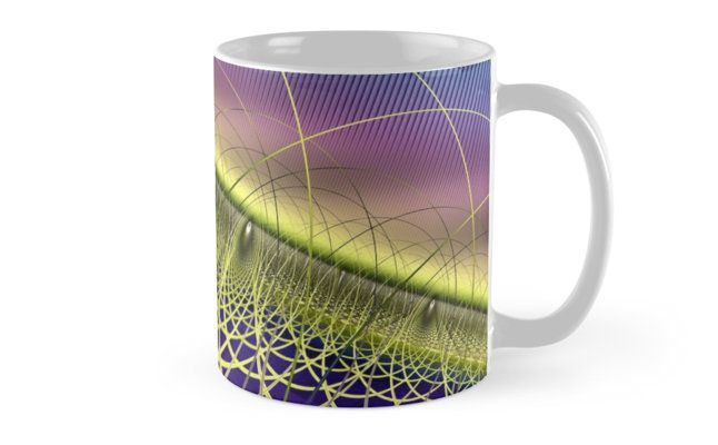 Twister Yellow Mugs by Terrella.  A colourful abstract twister made of twisted strands and arches with a jagged multicoloured background. This is the yellow version. • Also buy this artwork on home decor, apparel, phone cases, and more.