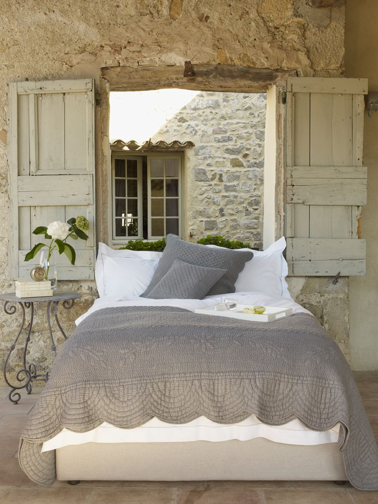 .very nice: Rustic Bedrooms, Window, Bedrooms Design, Stones Wall, Cottage, French Country, Grey, Guest Rooms, Shutters