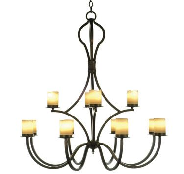V112 40 twelve light two tier forged iron chandelier shown with electric candles available with