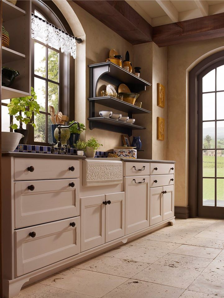 Travertine Tiles, Recessed Panel Cabinetry, And A Farmhouse Sink? My Dream  Kitchen!