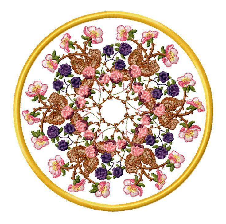 Bramble Embroidery design in a doily. Design by Sue Box.
