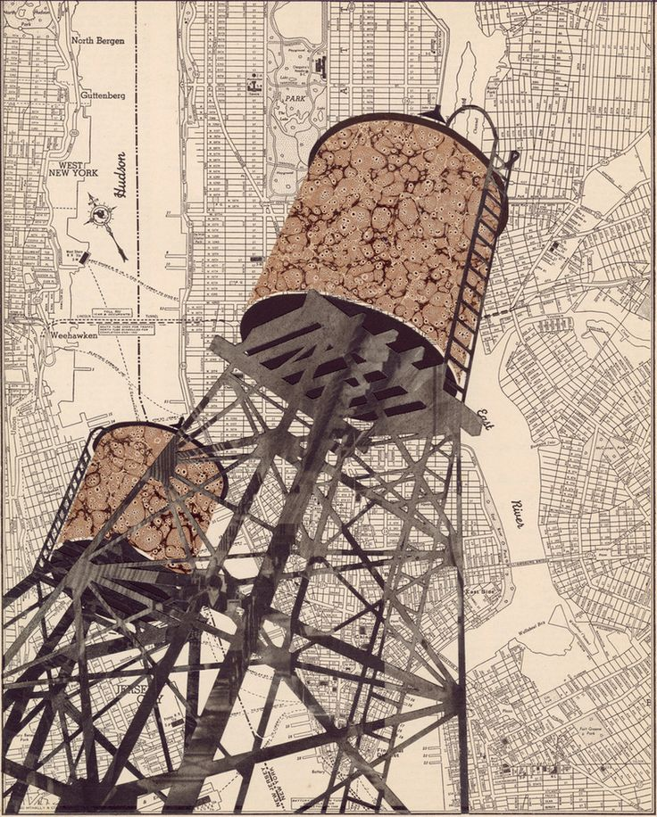 """Water Towers, New York City by William Steiger """"The rooftop water tank (required on all city buildings over six stories) has become synonymous with New York City,"""" says acclaimed artist William Steiger. """"Each time I see these towering structures I..."""