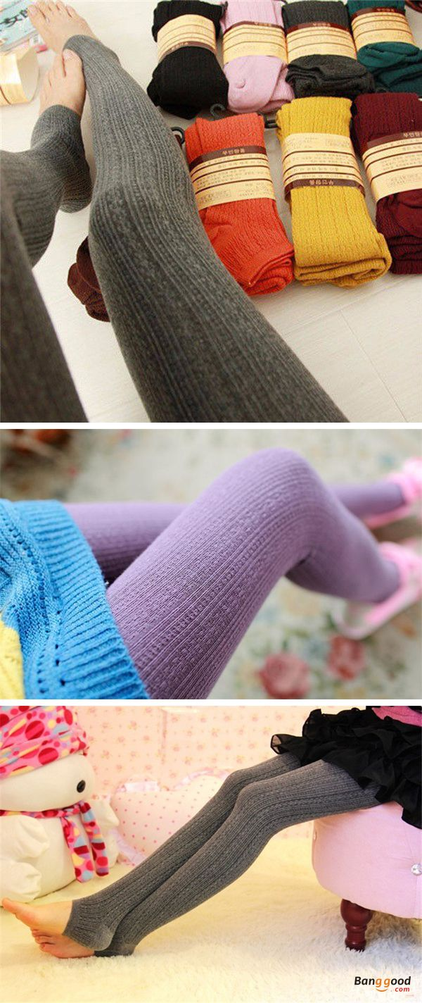 US$5.88+ Free shipping. Material: Cotton. Color: Purple, Black, Wine Red, Coffee, Dark Gray, Light Gray, Green, Navy. Fall in love with warm and cute style! Women Girl Knit Pants Thick Tights Vertical Strip Skinny Leg Stretchable Step Foot Stocking Hosiery. #legging #hosiery #pants #outfit