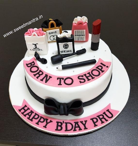 Born To Shop Shopoholic Theme Customized Fondant Cake For