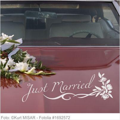 Autoaufkleber Hochzeit - Just Married Blumenranke 03