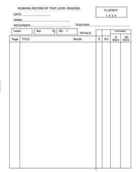 This is a blank running record recording sheet.  It can be used with any book at any level.  There are places to record accuracy rate, fluency, self correction rate, and comments on overall reading.