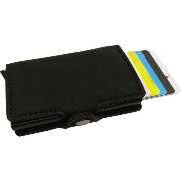 Men Blocking Rfid Mini Leather Business Aluminium Credit Card Holder Wallet