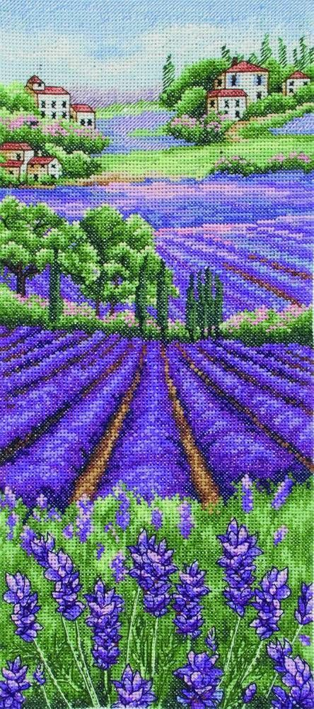 Anchor Provence Lavender Landscape Counted Cross Stitch Kit 16 Count White Aida | eBay