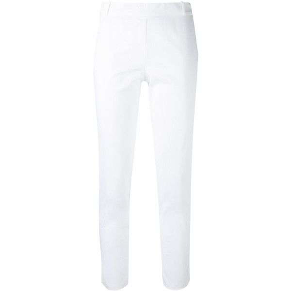 Kiltie Cropped Trousers ($184) ❤ liked on Polyvore featuring pants, capris, cropped trousers, white pants, white trousers, white cropped trousers and cotton trousers