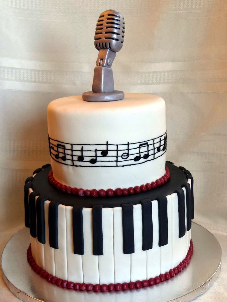 Tiers of Joy Cakery: Music Cake with Keyboard & Microphone
