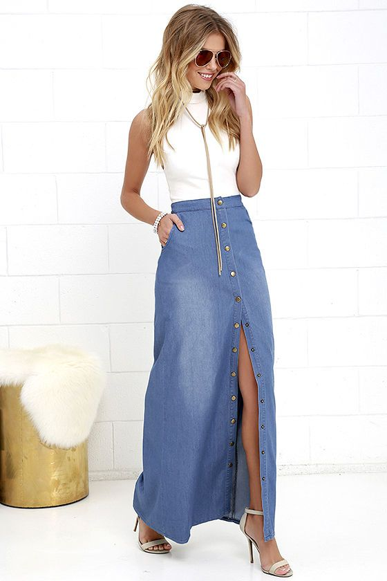We're giving the Rejoice Blue Chambray Maxi Skirt quite a few hip hip hoorays! Lightweight chambray creates a high banded waist above rounded front pockets, and straight-cut maxi skirt. Front slit adjusts via the full-length, brass, snap-button placket.