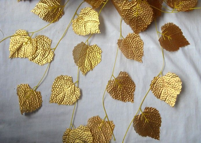10pcs/lot 3m long Beautiful vine Ivy hanging bush plant Artificial gold leaf wedding party home garland decor wd004 US $19.99
