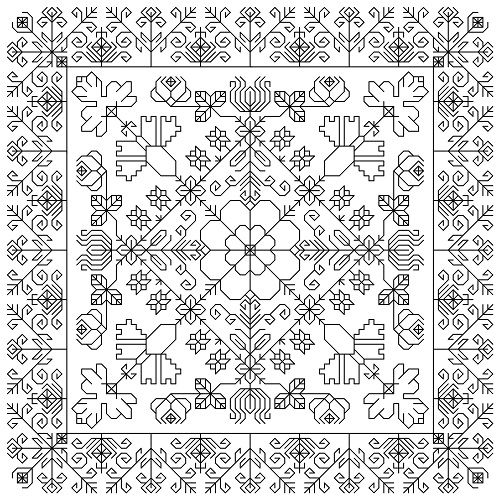 This page is full of gorgeous (and inexpensive) blackwork patterns! Antique Flowers