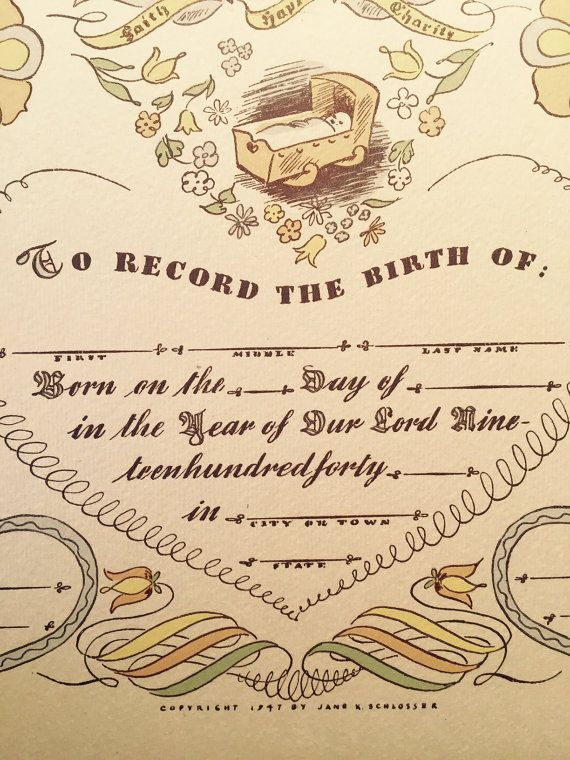 Vintage Pennsylvania Dutch Record The Birth Certificate Unused