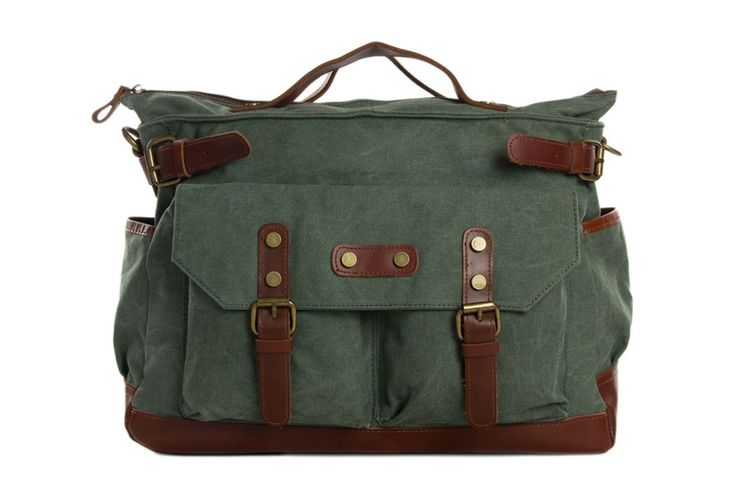 Image of Canvas Leather Briefcase Messenger Bag, Waxed Canvas Laptop Bag Travel Briefcase 1859