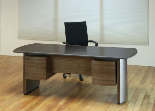 Stone Top Executive Desk Office Furniture Modern Stainless Steel Panels Contemporary Conference Table