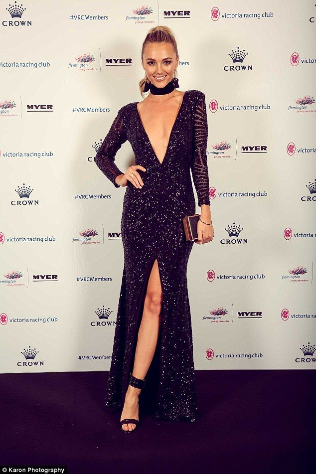 Glowing! Brooke Hogan stunned in a black gown as she attended the Victoria Racing Club Young Members Ball in Melbourne on Saturday night