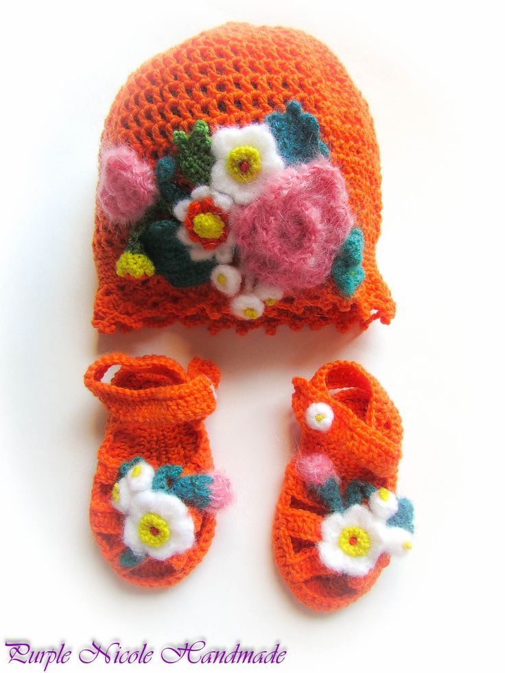 Lizuca - Handmade Crochet Children Set: beautiful little hat & bootees - sandals by Purple Nicole (Nicole Cea Mov). Materials: bright orange yarn, decorated with mohair flowers and green leaves.