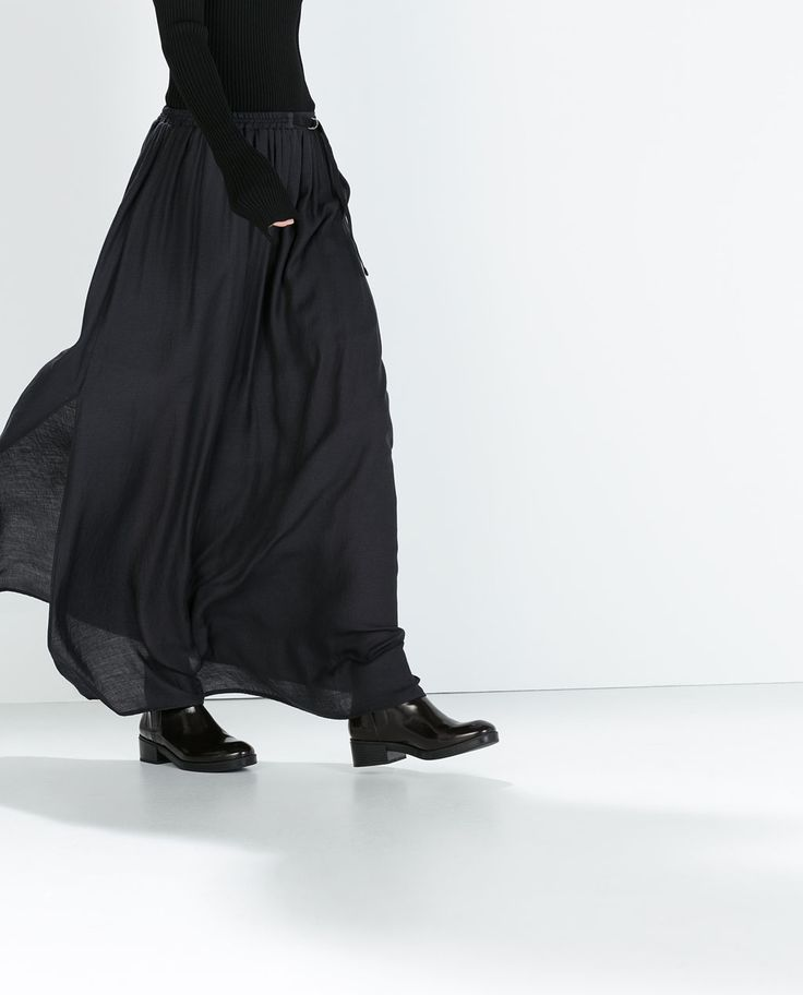 LONG SKIRT WITH CONTRASTING RIBBON-Maxi-Skirts-WOMAN | ZARA United States