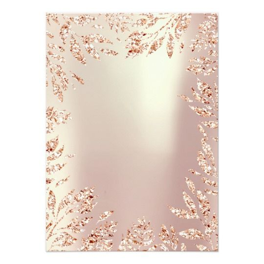 Gold Wedding Decor Ideas: Pink Rose Gold Glitter Leafs Floral Frame Crystal