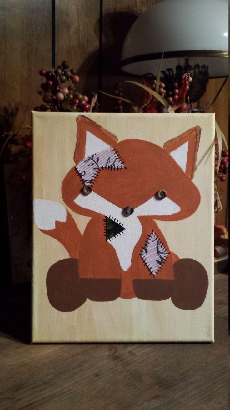 Fox Nursery decor, Patchwork Baby Fox, Baby fox decor, Hand painted fox, Fox decor, nursery decor, Boho decor by IndigoWanderlust on Etsy https://www.etsy.com/au/listing/480182166/fox-nursery-decor-patchwork-baby-fox
