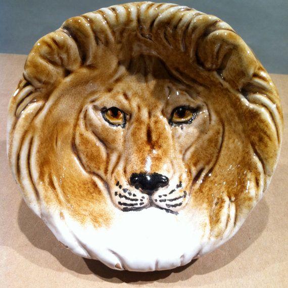 Vintage Italian Majolica Lion Face Hand Painted Glaze Bowl