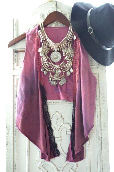 Boho gypsy ombre vest, Summer bohemian beach goddess vest, Bohemian clothing, Hippie chic music festival wrap vest, true rebel clothing M