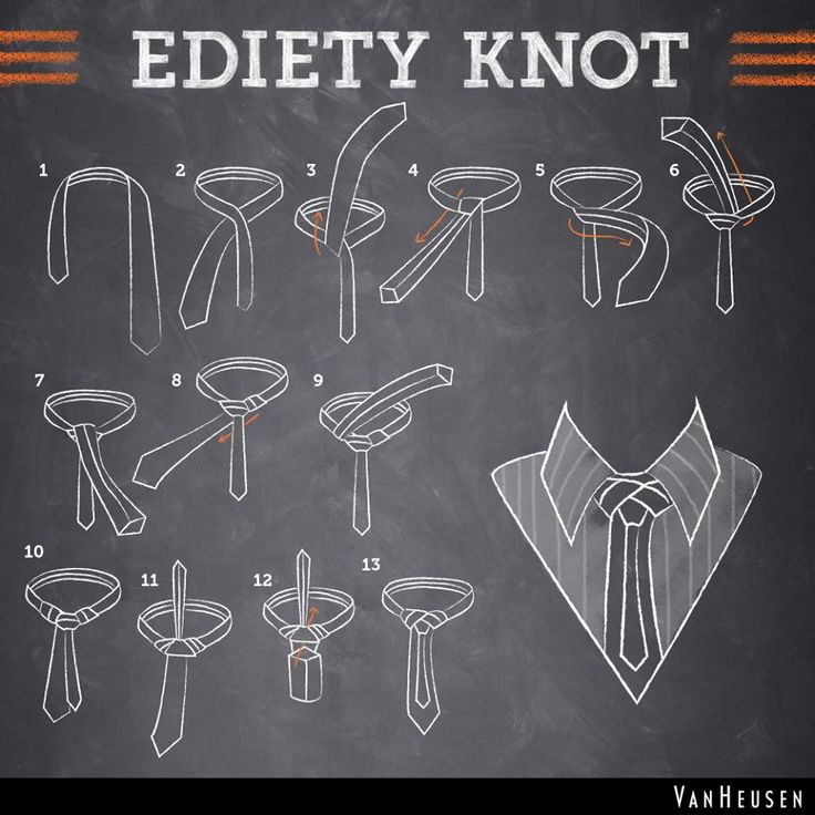 Van Heusen, Ediety Knot #infographic HOW TO TIE A KNOT, STEP BY STEP (Jacob is wearing this one tonight with a vest.   So cool! Nice change from the basic knots.)
