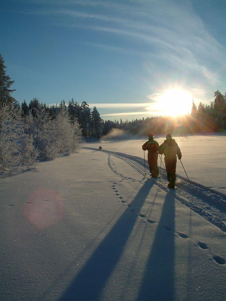 hirvipirtit lapland cabins, Taivalkoski Finland, snowshoeing on the river Iijoki