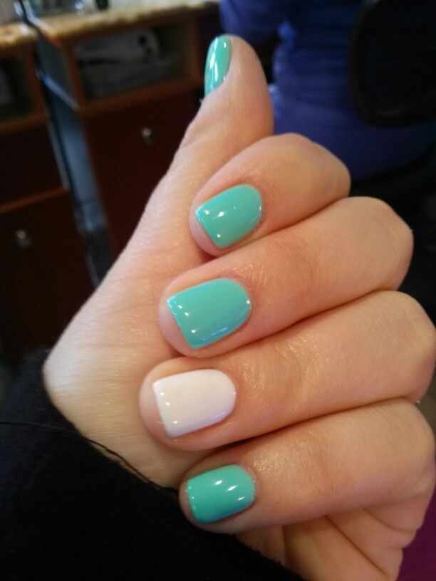 shellac mint white nail design