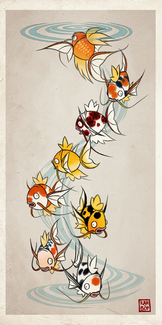 "rah-bop: "" Getting on board the pokemon variations bandwagon thanks to @vantid, my generous idea monger. Few things would make me happier than a pond full of fancy magikarp. From top to bottom: • butterfly • sanke • goromo • kigoi • kohaku • ki..."