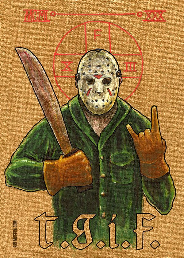 """Religious Horror Icon-Jason Voorhees-T.G.I.F.-Friday the 13th-5""""x7"""" Print by artmuffin on Etsy https://www.etsy.com/listing/400739957/religious-horror-icon-jason-voorhees"""