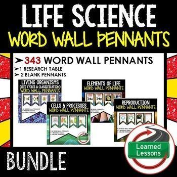 Life Science Word Wall 343 Pennants (Life Science Bundle), Living Organisms, Elements of Life, Life Cycles, Classification, Cells and Processes, Reproduction, Heredity, Ecology, Adaptations, Body Systems, Diseases