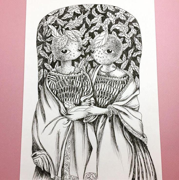 Orange sisters #ink #illustration #loretaisac #orange #sisters