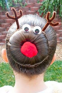 Reindeer Bun! So funny. Make a sock bun, glue googly eyes onto bobby pins and shove in bun, add pipe cleaners in the shape of antlers and stick a red craft ball glued to bobby pin in the center of bun. Perfect for an ugly Christmas sweater party ;)