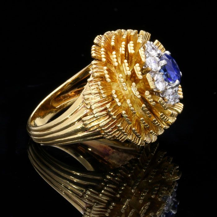 CARTIER.Paris, circa 1950's.A gold, sapphire and diamond dress ring.