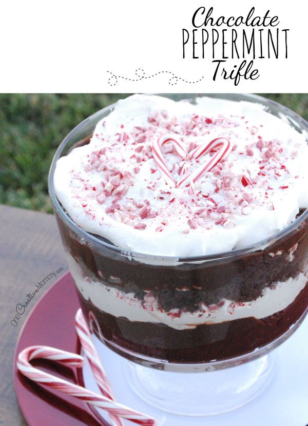 Easy Holiday Chocolate Peppermint Trifle Recipe {Use your favorite cake mix, candy canes and Andes Peppermint Crunch Baking Bits for this quick Christmas dessert} OneCreativeMommy.com