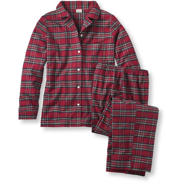 L.L.Bean Tartan Flannel Pajama Set (3,880 INR) ❤ liked on Polyvore featuring plus size women's fashion, plus size clothing, plus size intimates, plus size sleepwear, plus size pajamas, tartan plaid pajamas, flannel pajamas, button front pajamas, flannel pajama sets and plaid pjs