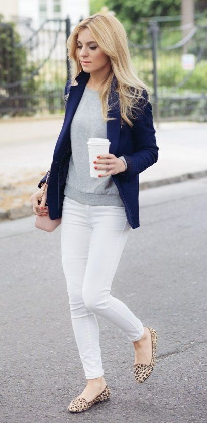#winter #fashion /  Navy Blazer + White Skinny Jeans