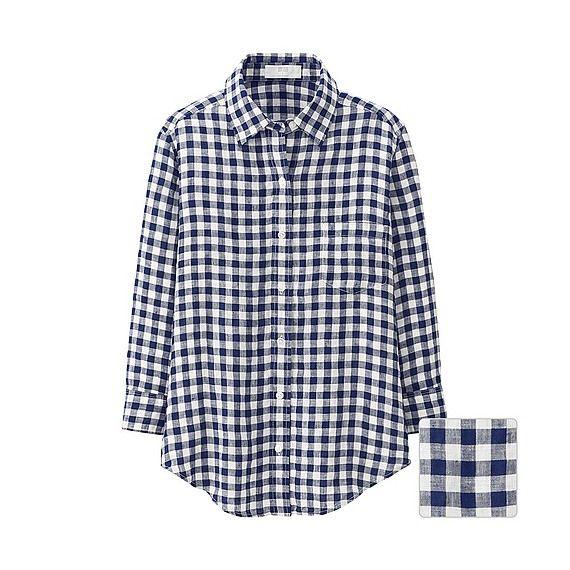 WOMEN プレミアムリネンチェックシャツ(7分袖) | UNIQLO