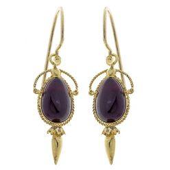 E25 15ct Victorian Cabachon Garnet Earrings