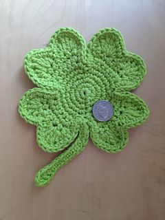 Lucky Shamrock Coaster - free crochet pattern by Tammy Arshi. Measures 6 inches across.