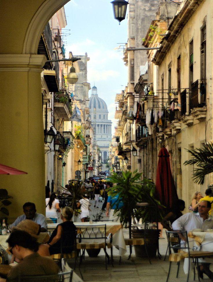 visitheworld:  Streetside restaurants in old Havana, Cuba (by nimdok).