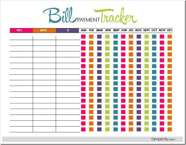 bill pay organizer template