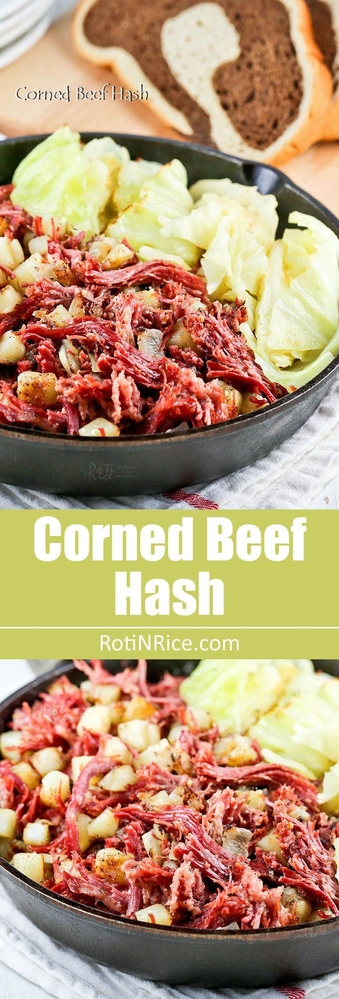 Corned Beef Hash - a delicious combination of tender shredded corned beef, potatoes, onions, and pan braised cabbage wedges. | http://RotiNRice.com